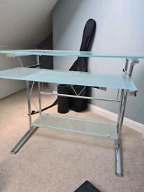 Glass desk with sliding keyboard shelf