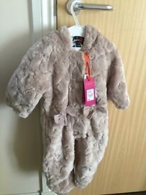 Girls - Brand New Light Pink Fur Snowsuit 6-9 months. Bought for £45.!