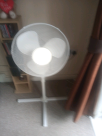 Electric fan on white stand