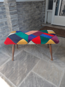 VINTAGE RECOVERED PADDED TOP BENCH