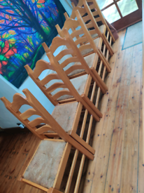 Vintage Dutch Heavy Ladder Back Dining chairs