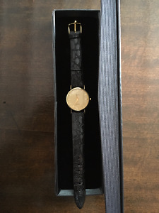 14 KT Yellow Gold Geneve Watch with Black Croco calf skin strap