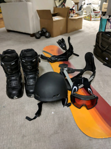 Snowboard set with goggles, boots, bindings and helmet