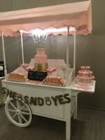 Candy Sweet Cart, Flower Wall Vintage Pieces Rentals
