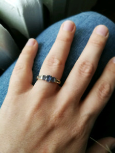 White Gold Diamond and Tanzanite Promise Ring