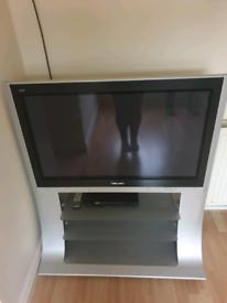 "Panasonic Viera 37"" Plasma flat screen TV c/w stand and 2 glass shelve"