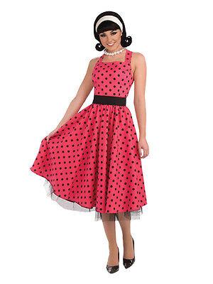 Ladies 1950s 50s Polkadot Rockabilly Bopper Fancy Dress Costume Rock N Roll New