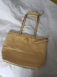 COACH Signature Stitch Stripe Patent Leather Yellow Tote bag