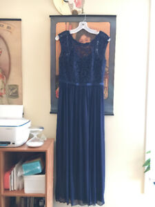 Long Bridesmaid Dress with Lace Bodice (Size 8)