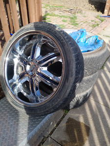 """22"""" inch chrome rims with like new tires, paintable inserts"""