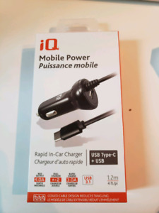 IQ Mobile Power Rapid In-Car Charger USB Type-C + USB