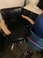 Hair dressing chair and stand with built in plug ins