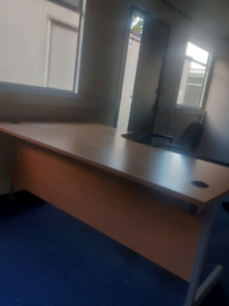 Executive beech managers corner office desk