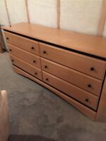 Queen size head board with matching dresser and night stands