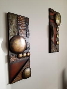 2 Vintage 1970's abstract Brutalist Wall Panel Sculptures