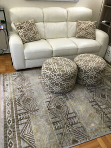 Leather Sofa  with Rug & Ottomans