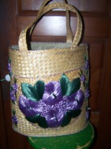 Vintage Straw Tote Purse Very Large Beach Bag Purple Flowers