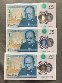 Five Pounds rare notes AA06, AA08, AM23