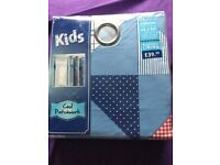 BRAND NEW Kids Blue Patchwork Curtains