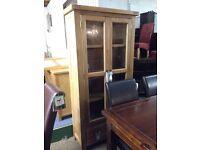 Oak glass display cabinet bookshelf