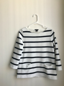 Club Monaco Striped Black and White Blouse Front Pockets M