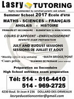 SUMMER SCHOOL COURSES 2017 *  IN FRENCH OR IN ENGLISH West Island Greater Montréal Preview