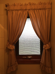 Two sets of Rod Pocket curtains with Tiebacks