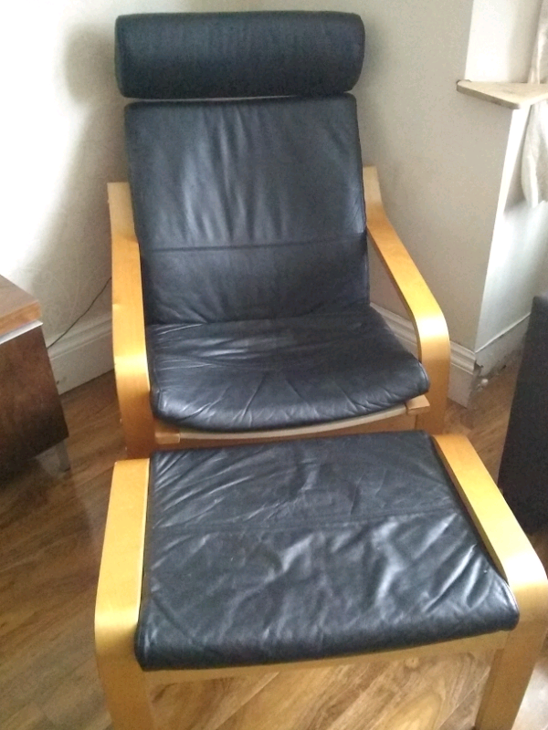 Stupendous Black Ikea Poang Chair And Foot Stool In Salford Manchester Gumtree Ibusinesslaw Wood Chair Design Ideas Ibusinesslaworg