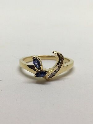 - 14k Sapphire And Diamond Ring Guard Wrap for .50 solitare
