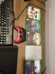 Xbox one controller, guitar hero controllers and games.