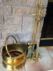 Fireplace Andirons and Brass Wood Bucket