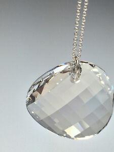 Sterling Silver Necklace w/Swarovski Twist Pendant -Silver Shade