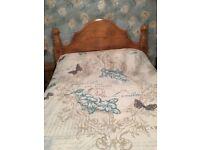 Solid oak kingsize bed with mattress