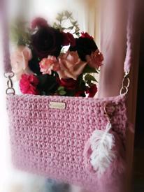 Pink cotton handmade crocheted bag