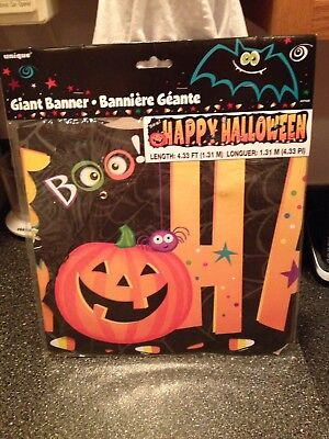 Giant Boo Pumpkin Bat Spider Candy Corn Happy Halloween Banner Ribbon Garland