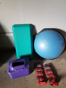 bassoo ball with exercise CD, stepper bench, and ankle weights