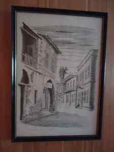 Framed Print - Black & White Sketch - St. Andrews St. Limassol,