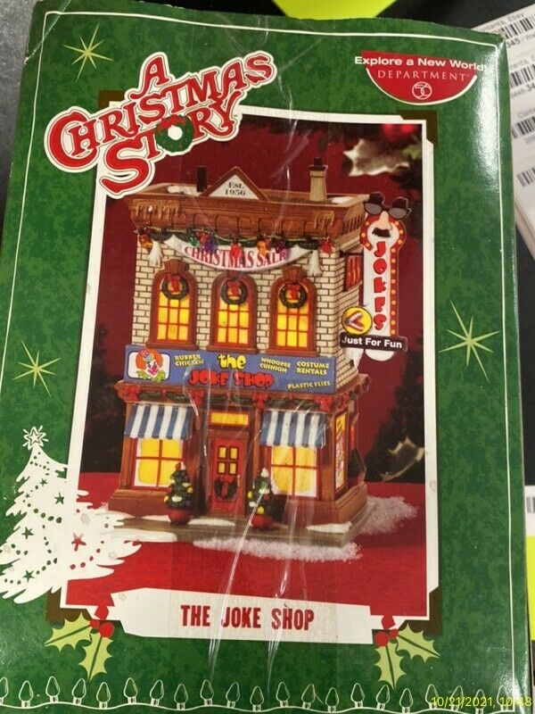 """Department 56 - A Christmas Story Village Lighted Building - """"THE JOKE SHOP"""" NEW"""