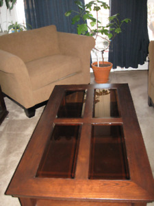 Glass top coffee table and one end table