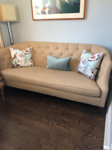 Beige linen tufted back sofa