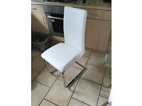 White leather dining / dressing table chair with chrome legs