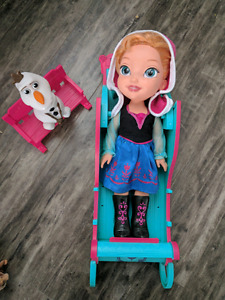 Frozen Anna doll with Olaf and Sled.