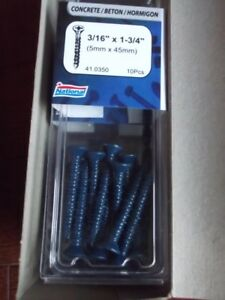 3/16 x 1-3/4 concrete screws. $10 for box of 50. I have12 boxes.