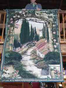 HUGE WALL TAPESTRY WITH  METAL HANGING ROD