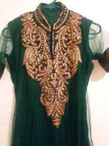 Beautiful green and gold indian Anarkali suit. Brand new