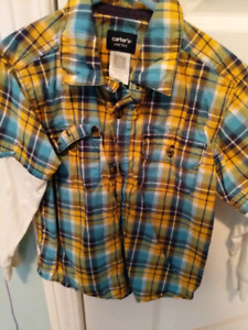 Carter's Yellow Blue Plaid Fooler Top (Size 2T)