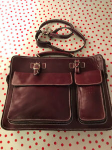 ITALIAN LEATHER,  BRIEFCASE, COMPUTER BAG, LEATHER SATCHEL, NEW