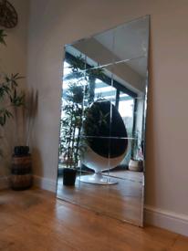 Vintage 70's bevelled edge panelled frame mirror