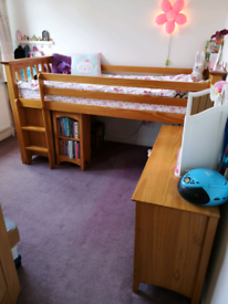 Marks & Spencers Cabin Bed with storage and desk, mattress, chair, used for sale  North Baddesley, Hampshire