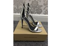 River Island silver heeled sandals (size 6)